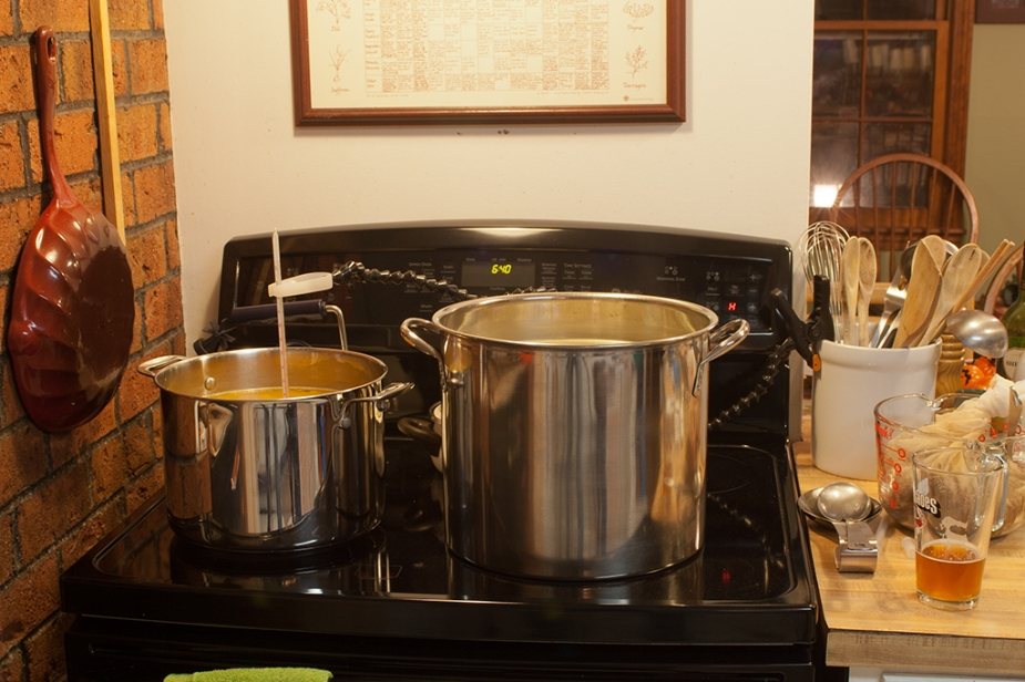 Small pot: steeping the pumpkin; large pot: the wort coming to a boil