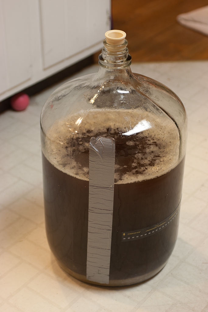 Steeped pumpkin broth, wort, and yeast into the carboy